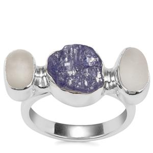 Tanzanite Ring with White Topaz in Sterling Silver 6.61cts