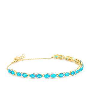 Neon Apatite Bracelet in 10k Gold 5.08cts