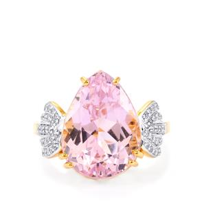 Mawi Kunzite Ring with Diamond in 18K Gold 10.67cts