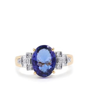 AAA Tanzanite Ring with Diamond in 18K Gold 3.53cts