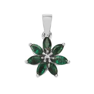Itabira Emerald Pendant with Diamond in Sterling Silver 0.87cts