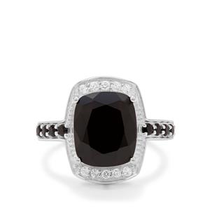 Black Spinel Ring with White Zircon in Sterling Silver 5.45cts