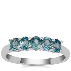 Ratanakiri Blue Zircon Ring in Sterling Silver 1.50cts