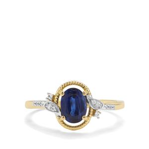 Nilamani & White Zircon 9K Gold Ring ATGW 1.23cts