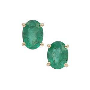 Zambian Emerald Earrings in 9K Gold 1.55cts