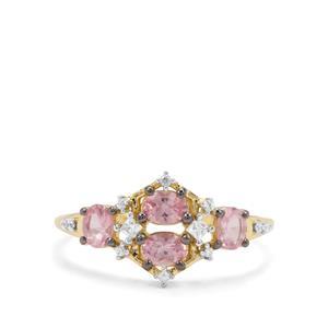 Pink Spinel & White Zircon 9K Gold Ring ATGW 0.88ct
