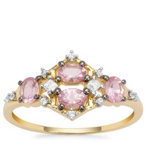 Pink Spinel Ring with White Zircon in 9K Gold 0.88ct