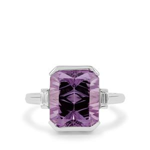 Sahl Cut Amethyst Ring with White Zircon in Sterling Silver 6.15cts