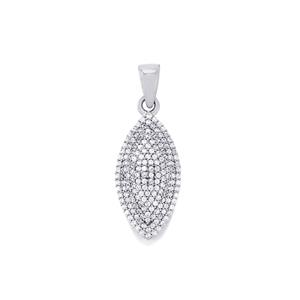 White Zircon Pendant in Sterling Silver 1.22cts