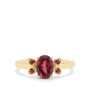 Mahenge Garnet & Red Garnet 9K Gold Ring ATGW 1.50cts