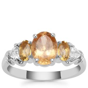Imperial Garnet, Diamantina Citrine Ring with White Zircon in Sterling Silver 2.18cts