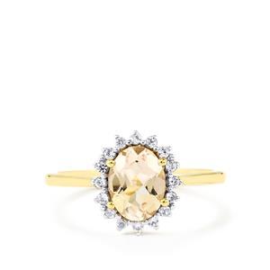 Mutala Morganite & White Zircon 9K Gold Ring ATGW 1.27cts