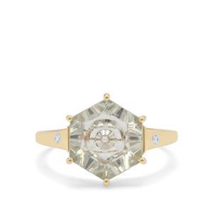 Lehrer Quasar Cut Prasiolite & White Zircon 9K Gold Ring ATGW 3.25cts