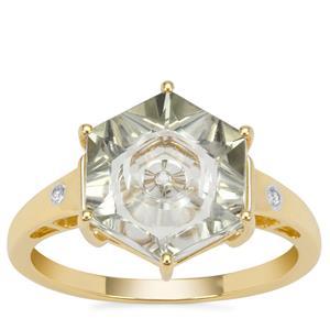 Lehrer Quasar Cut Prasiolite Ring with White Zircon in 9K Gold 3.25cts