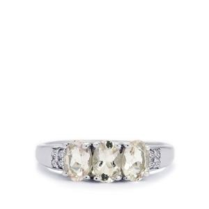 Zambezia Morganite & White Topaz Sterling Silver Ring ATGW 1.23cts