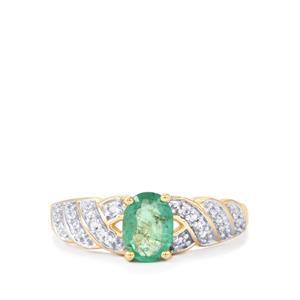 Zambian Emerald & White Zircon 9K Gold Ring ATGW 0.83cts