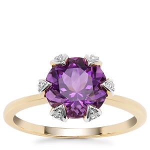 Moroccan Amethyst Ring with Diamond in 9K Gold 2.58cts