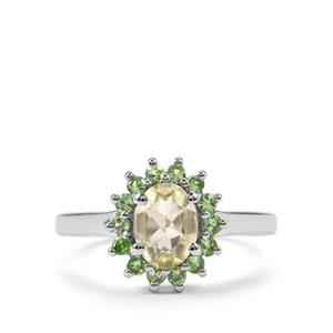 Sillimanite & Tsavorite Garnet Sterling Silver Ring ATGW 1.64cts
