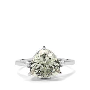 Prasiolite & White Zircon Sterling Silver Ring ATGW 3.54cts
