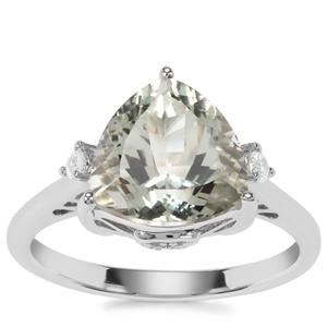 Prasiolite Ring with White Zircon in Sterling Silver 3.54cts