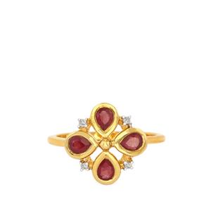 Ruby Ring with Diamond in Gold Plated Sterling Silver 0.84ct