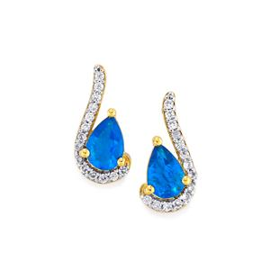 Neon Apatite Earrings with White Zircon in 10k Gold 1ct