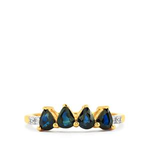 Australian Blue Sapphire Ring with White Zircon in Gold Vermeil 1.17cts