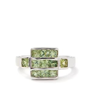 1.96cts Songea Green Sapphire Sterling Silver Ring