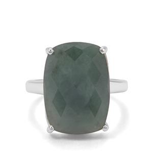 12.61ct Burmese Jade Sterling Silver Ring