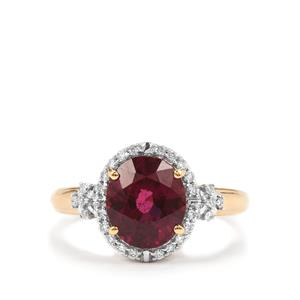 Comeria Garnet Ring with Diamond in 18k Gold 2.96cts