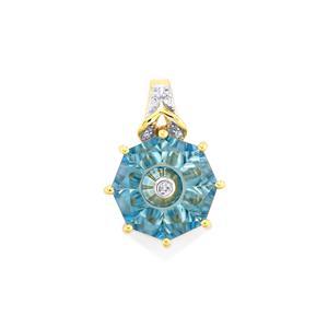 Lehrer TorusRing Blue Topaz & Diamond 9K Gold Pendant ATGW 4.03cts