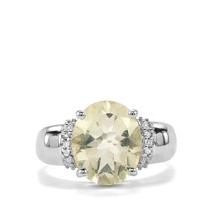 Chartreuse Sanidine Ring with White Topaz in Sterling Silver 3.73cts