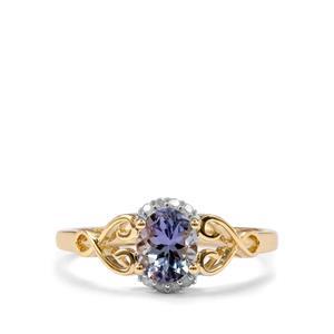Bi Colour Tanzanite & Diamond 10K Gold Ring ATGW 0.95cts
