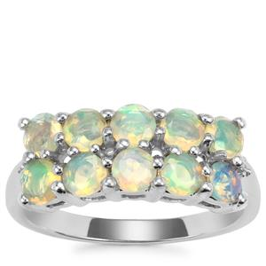Ethiopian Opal Ring with Diamond in Sterling Silver 1.07cts