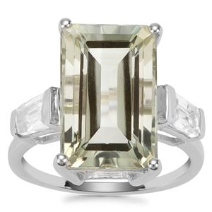Prasiolite Ring with White Topaz in Sterling Silver 9.21cts