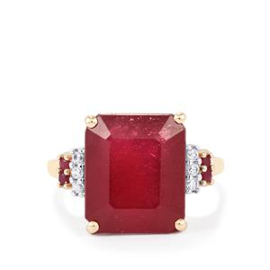 Malagasy Ruby Ring with White Zircon in 10K Gold 12.16cts