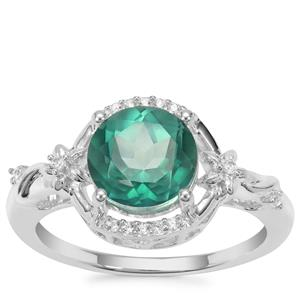 Fern Green Topaz Ring with White Zircon in Sterling Silver 2.88cts