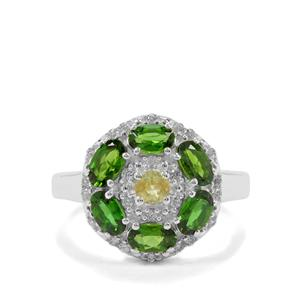 Chrome Diopside, Ambilobe Sphene & White Zircon Sterling Silver Ring ATGW 1.90cts