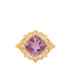 Bahia Amethyst Ring with White Topaz in Gold Plated Sterling Silver 2.88cts