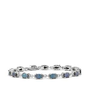 Crystal Opal on Ironstone Bracelet with White Topaz in Sterling Silver
