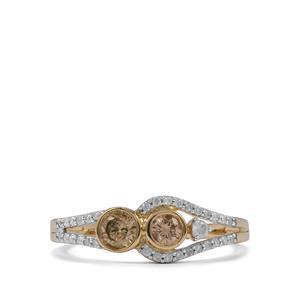 1/2ct Natural Coloured & White Diamond 10K Gold Ring
