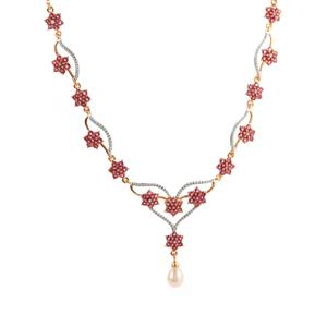 Montepuez Ruby Necklace with Kaori Cultured Pearl in Gold Plated Sterling Silver