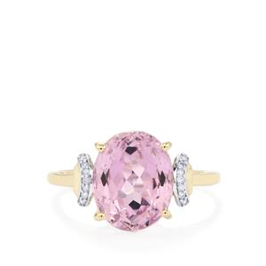 Mawi Kunzite Ring with Diamond in 10k Gold 4.92cts