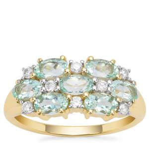Aquaiba™  Beryl Ring with White Zircon in 9K Gold 1.70cts
