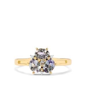 Bi Colour Tanzanite & Diamond 10K Gold Ring ATGW 1cts