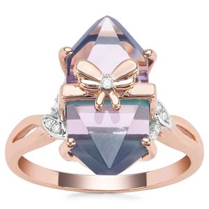 Lehrer Cosmic Obelisk Rose De France Amethyst, Sleeping Beauty Turquoise Ring with Diamond in 9K Rose Gold 6.62cts