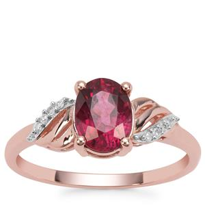 Malawi Garnet Ring with White Diamond in 9K Rose Gold 1.66cts