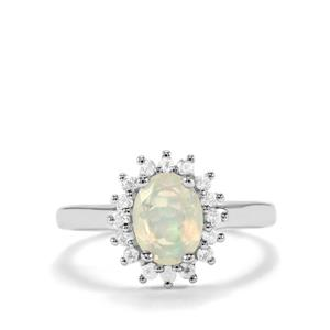 Ethiopian Opal Ring with White Topaz in Sterling Silver 1.06cts
