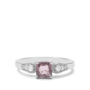 Burmese Pink Spinel & White Zircon Sterling Silver Ring ATGW 1.13cts