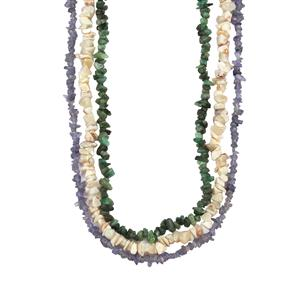 Tanzanite, Carnaiba Brazilian Emerald Set of 3 Nugget Necklace with White Opal 390cts
